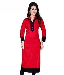 new arrive Design Designer Womens Cotton Unstitched Kurti (Jay khodal Enterprise_cotton_10-Red Black)