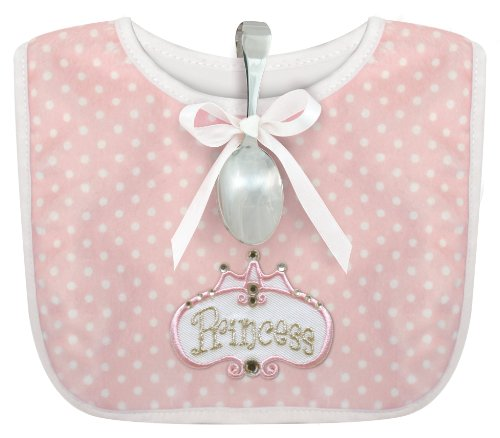 Stephan Baby Infant Girl Polka Dot Bib and Silver Plated Bent-Handled Spoon Gift Set, Little Princess