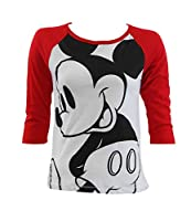 Disney Ladies Mickey Mouse Big Head Junior Fit T-Shirt