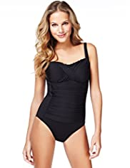 Cross Front Ruched Swimsuit