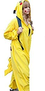 WOWcosplay Unisex All-In-One Pajamas Cosplay Costume Adult Sleepwear,Pikachu XL