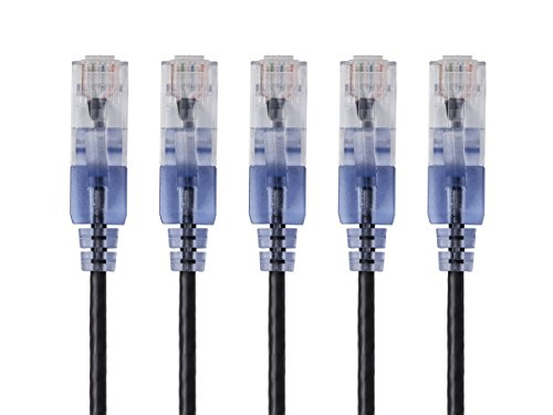 Monoprice 10-Pack Slim Run Cat6A Ethernet Network Patch Cable 10 Black 115165 Black-5-Pack 1-Feet