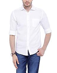 Bandit White Slim fit Linen Solid Shirts