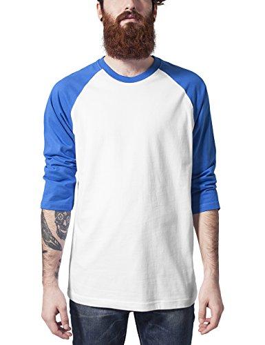 Urban Classics TB366 Contrast Manica 3/4 Raglan Tee Maglia Uomo Regular Fit (White/Blue, XXL)
