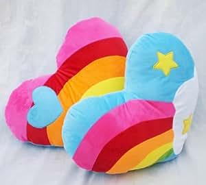 Grabadeal Couple Rainbow Style Heart Shaped Plush Cushions