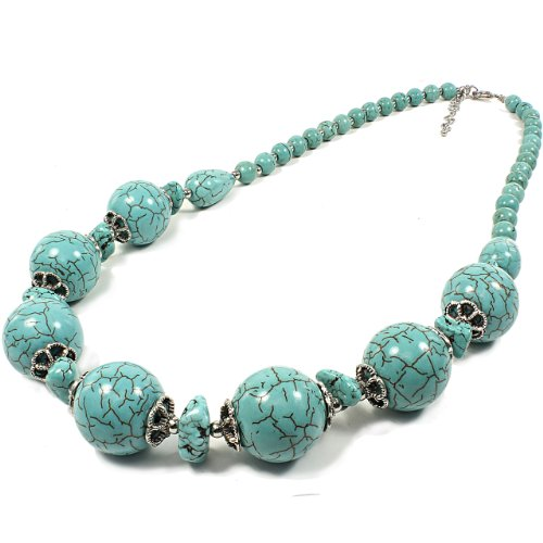 Turquoise Necklace Round Shape with Brass Metal and Stone Chips Accent
