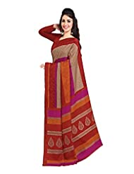 Indian Designer Art Silk Red Printed Saree - B00MN65VAI