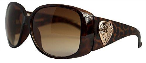 Foster Grant Womens Heart Round Sunglasses Tortoise Frame Brown Gradient Lenses