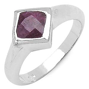 Silvancé - Women's Ring 925 Sterling Silver Genuine Ruby - R266R