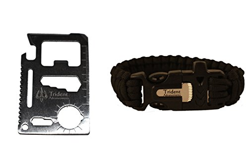 550lb Paracord Bracelet 11 in 1 Multi Tool - Trident Advancements - BlackTool Bundle - 2 Items - Military Grade