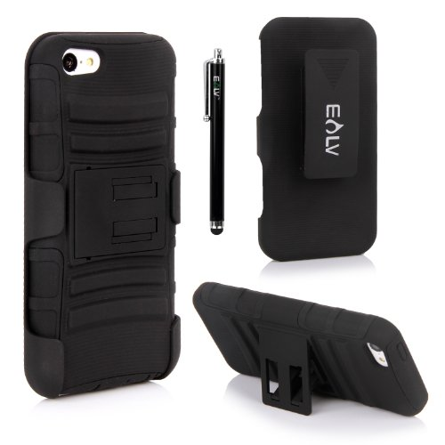 Iphone 5C Case, Iphone 5C Holster Case By E Lv - Full Body Hybrid Armor Protection For Iphone 5C With Backstand And Belt Swivel Clip With 1 Screen Protector And 1 Stylus - Black