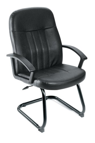 Boss Mid Back Leather Plus Chair W/Sled Base Black