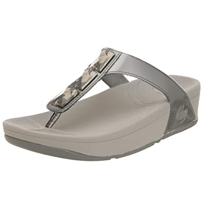 FitFlop Women's Pietra Sandal,Pewter,10 M US