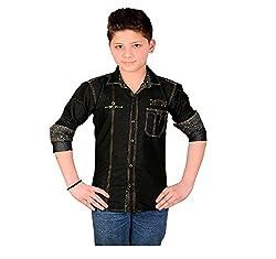 Aedi Little Casual Denim Shirts For Boys (BLK10270_Black_32)