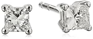 18k White Gold, Princess-Cut, Diamond 4-Prong Studs (1/3 cttw, H-I Color, SI1-SI2 Clarity)