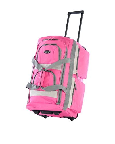 Olympia Luggage Sports Plus 22 Inch 8 Pocket Rolling Duffel Bag, Hot Pink