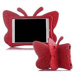 Ipad Mini Case,ER CHEN(TM) Kids Light Weight Cute Butterfly Design Shock Proof EVA Foam Series Case for Ipad Mini / Mini 2 / Mini 3(Red)