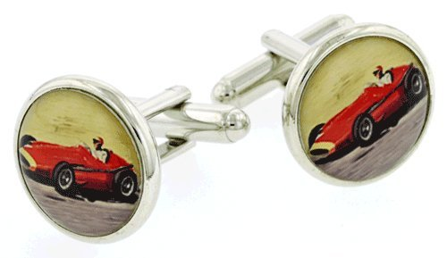 JJ Weston Silver plated Red Racer cufflinks. Made in the USA