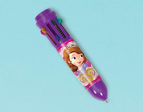 Amscan Sofia the First Multicolor Pen Disney Party Favors, Violet, 3 3/4""