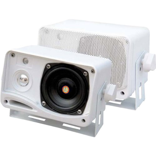 3.5'' 200-Watt 3-Way Weather-Proof Mini Box Speaker System-White 3.5'' 200-Watt 3-Way Weather-Proof