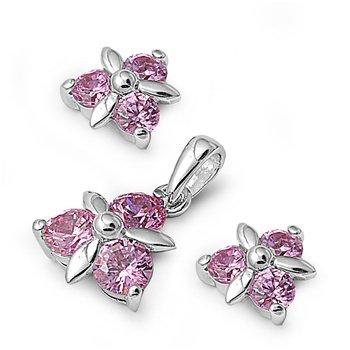Sterling Silver & Pink CZ Triple Stone Triangular Flower Earring & Pendant Set