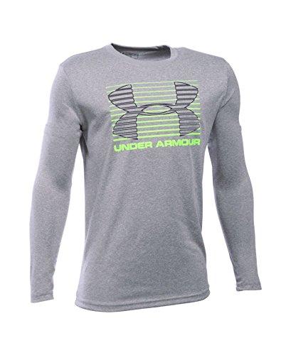 Under Armour Boys' Breakthrough Logo Long Sleeve T-Shirt, True Gray Heather (025), Youth X-Large