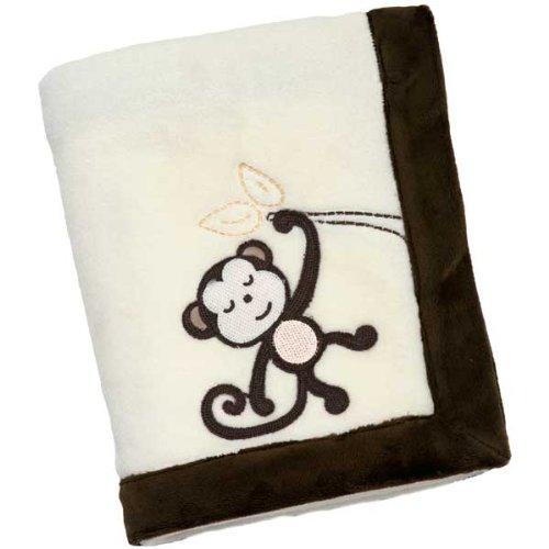 NoJo Dreamy Nights Appliqued Coral Fleece Baby Blanket