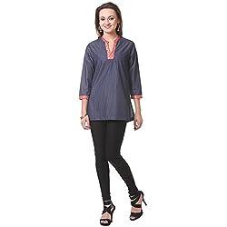 Oghaindia Womens Silk Tencel Denim Blouse with Hot Pink Banarsi Combo Fabric