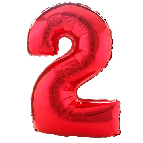 Party Destination 160365 34 in. Red no.2 Shaped Foil Balloon