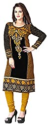 SANVARI FASHION Women's Crepe Straight Kurta (Event113-D, Multi-Coloured, L)