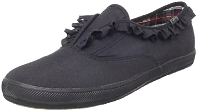 Keds Women's Champion Ruffle Slip-On Fashion Sneaker,Black,6.5 M US