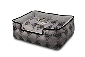 P.L.A.Y. Pet Lifestyle and You Royal Crest Black Lounge Bed for Dogs, Large