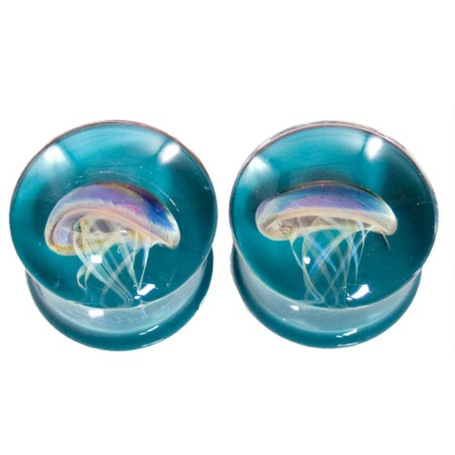 Dark Aqua Background Amber Purple Jellyfish Plugs - Hand Made Glass Double Flare - 1