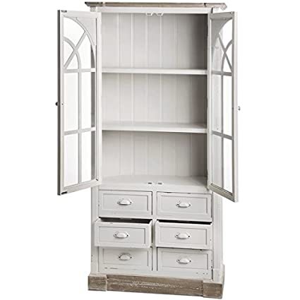 Hill Interiors Hill Interiors New England Tall Glazed Unit with Drawers, Antique White/Limited Brown, , Antique White/Limited Brown ,