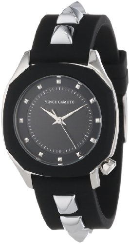Vince Camuto Women's VC/5107BKBK Stainless Steel Watch with Black Resin Band