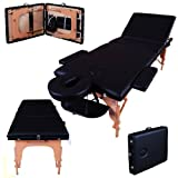 Massage Imperial Lightweight Professional Black 3-Section Portable Massage Table Couch Bed Spa