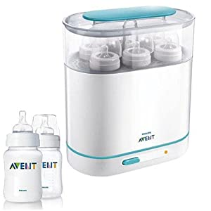 Philips Avent SCF284/05 3-in-1 Electric Steam Sterilizer with 9 oz Twin Pack Bottles