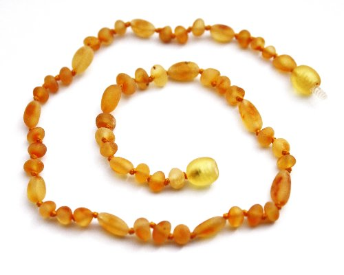 "Momma Goose Olive Teething Necklace, Unpolished Honey Mix, Small/11-11.5"" - 1"