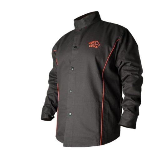 BLACK STALLION BSX® FR Welding Jacket - Black w/Red Flames - LARGE