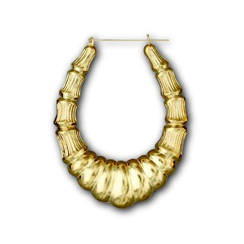 bamboo hoop earrings gold 3 1 2 inch gold large