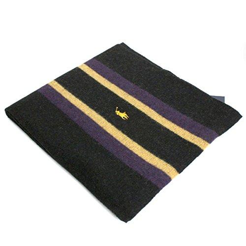 (ポロラルフローレン) POLO RALPH LAUREN ポニー ラムウール スカーフ マフラー レディース メンズ ユニセックス 6F0266 001 ブラック×パープル