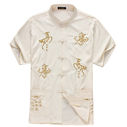 [BEIGE Horse]Fashion Men Chinese Short Sleeve Tang Shirt Kung Fu Cloth,180cm