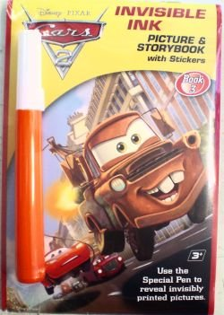 Disney Pixar Cars Movie Invisible Ink Picture & Story Book 3 With Stickers