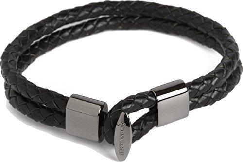 Simon Carter - Bracelet Cuir Tressé Double, Noir, Acier Rhodié, Simon Carter