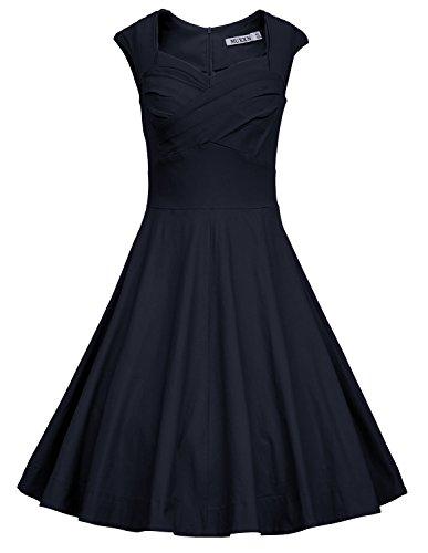 MUXXN Women's 1950s Vintage Retro Capshoulder Party Swing Dress (S, Blue)