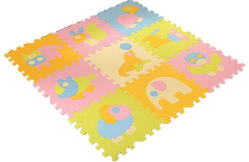 Bigood 9tlg. Spielmatte Kinderteppich Puzzlematte Spielteppich Schaumstoffmatte Farbig das Tier