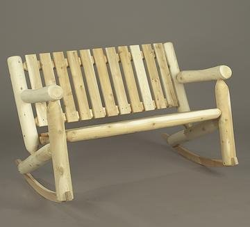 """48"""" Natural Cedar Log-Style Outdoor Wooden Double Low-Back Rocking Chair front-732707"""