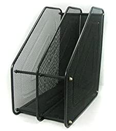 Superbpag Assemble Mesh Desk Organizer Office Document Holder Rack with 2 Upright Sections , Black