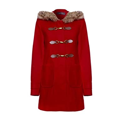 Anastasia - Red Womens Winter Hooded Duffle Coat