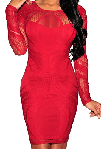 Zkess Women's Sleeveless / Long Sleeve Lace Party Bodycon Dress (X-Large, Red)